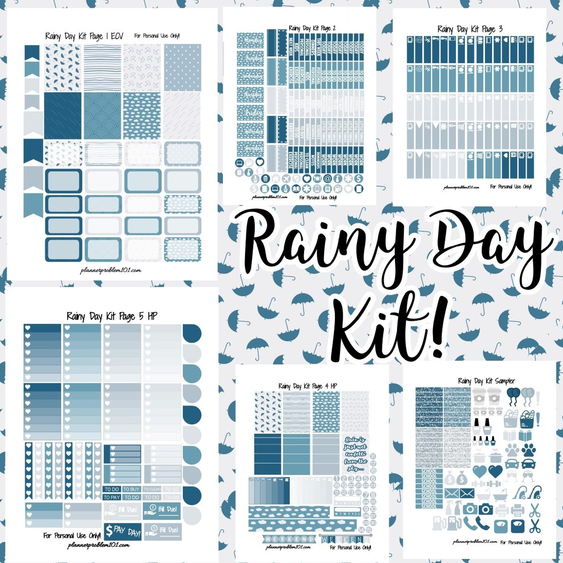 photograph about Free Planner Printable Stickers known as Rainy Working day Package! Absolutely free Printable Planner Stickers