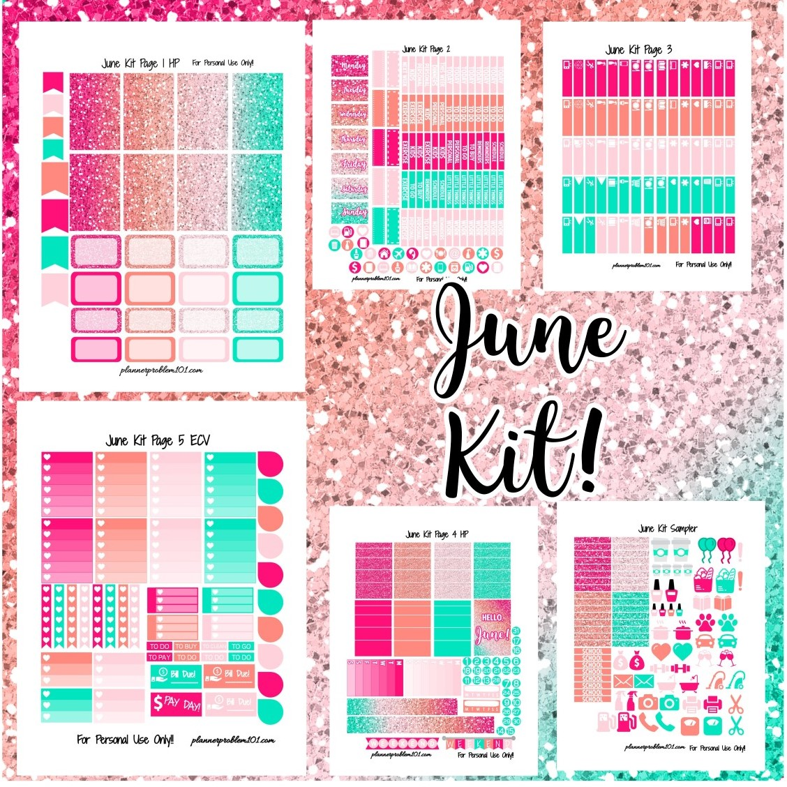image about Free Printable Stickers referred to as June Glitter Package! Absolutely free Printable Planner Stickers
